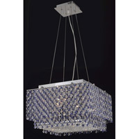 Elegant Lighting Moda 4 Light Dining Chandelier in Chrome with Swarovski Strass Sapphire Crystal 1299D16C-SA/SS
