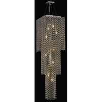 Elegant Lighting Moda 9 Light Foyer in Chrome with Swarovski Strass Topaz Crystal 1299G63C-TO/SS