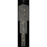 Elegant Lighting Moda 19 Light Foyer in Chrome with Royal Cut Jet Black Crystal 1299G84C-JT/RC