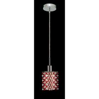 Elegant Lighting Mini 1 Light Pendant in Chrome with Strass Swarovski Bordeaux (Red) Crystals 1381D-R-P-BO/SS
