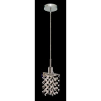 Elegant Lighting Mini 1 Light Pendant in Chrome with Strass Swarovski Jet (Black) Crystals 1381D-R-P-JT/SS