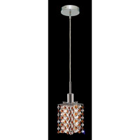 Elegant Lighting Mini 1 Light Pendant in Chrome with Strass Swarovski Topaz (Brown) Crystals 1381D-R-P-TO/SS