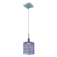Elegant Lighting Mini 1 Light Pendant in Chrome with Royal Cut Sapphire (Blue) Crystals 1381D-S-S-SA/RC