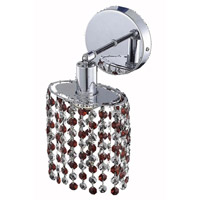 Elegant Lighting Mini 1 Light Wall Sconce in Chrome with Royal Cut Bordeaux (Red) Crystals 1381W-R-E-BO/RC