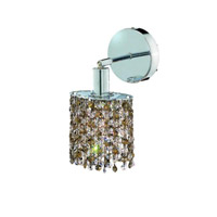 Elegant Lighting Mini 1 Light Wall Sconce in Chrome with Royal Cut Golden Teak (Smoky) Crystals 1381W-R-E-GT/RC