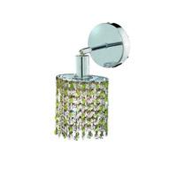 Elegant Lighting Mini 1 Light Wall Sconce in Chrome with Royal Cut Lt. Peridot (Light Green) Crystals 1381W-R-E-LP/RC