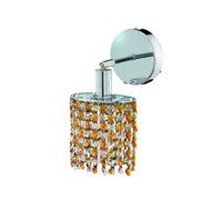 Elegant Lighting Mini 1 Light Wall Sconce in Chrome with Royal Cut Lt. Topaz (Yellow) Crystals 1381W-R-E-LT/RC