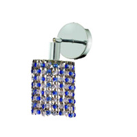 Elegant Lighting Mini 1 Light Wall Sconce in Chrome with Royal Cut Sapphire (Blue) Crystals 1381W-R-E-SA/RC