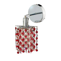 Elegant Lighting Mini 1 Light Wall Sconce in Chrome with Royal Cut Bordeaux (Red) Crystals 1381W-R-P-BO/RC