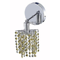 Elegant Lighting Mini 1 Light Wall Sconce in Chrome with Royal Cut Lt. Topaz (Yellow) Crystals 1381W-R-P-LT/RC