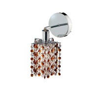 Elegant Lighting Mini 1 Light Wall Sconce in Chrome with Royal Cut Topaz (Brown) Crystals 1381W-R-P-TO/RC