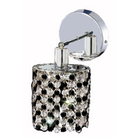 Elegant Lighting Mini 1 Light Wall Sconce in Chrome with Royal Cut Jet (Black) Crystals 1381W-R-R-JT/RC