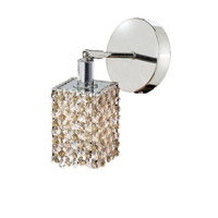 Elegant Lighting Mini 1 Light Wall Sconce in Chrome with Royal Cut Golden Teak (Smoky) Crystals 1381W-R-S-GT/RC