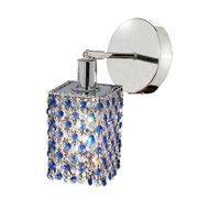 Elegant Lighting Mini 1 Light Wall Sconce in Chrome with Royal Cut Sapphire (Blue) Crystals 1381W-R-S-SA/RC