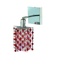 Elegant Lighting Mini 1 Light Wall Sconce in Chrome with Royal Cut Bordeaux (Red) Crystals 1381W-S-P-BO/RC