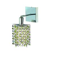 Elegant Lighting Mini 1 Light Wall Sconce in Chrome with Royal Cut Lt. Peridot (Light Green) Crystals 1381W-S-P-LP/RC