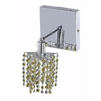Elegant Lighting Mini 1 Light Wall Sconce in Chrome with Royal Cut Lt. Topaz (Yellow) Crystals 1381W-S-P-LT/RC photo thumbnail