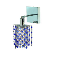 Elegant Lighting Mini 1 Light Wall Sconce in Chrome with Royal Cut Sapphire (Blue) Crystals 1381W-S-P-SA/RC