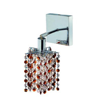 Elegant Lighting Mini 1 Light Wall Sconce in Chrome with Royal Cut Topaz (Brown) Crystals 1381W-S-P-TO/RC