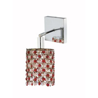 Elegant Lighting Mini 1 Light Wall Sconce in Chrome with Royal Cut Bordeaux (Red) Crystals 1381W-S-R-BO/RC