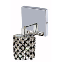 Elegant Lighting Mini 1 Light Wall Sconce in Chrome with Royal Cut Jet (Black) Crystals 1381W-S-R-JT/RC