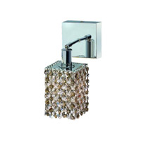 Elegant Lighting Mini 1 Light Wall Sconce in Chrome with Royal Cut Golden Teak (Smoky) Crystals 1381W-S-S-GT/RC