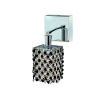 Elegant Lighting Mini 1 Light Wall Sconce in Chrome with Royal Cut Jet (Black) Crystals 1381W-S-S-JT/RC