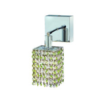 Elegant Lighting Mini 1 Light Wall Sconce in Chrome with Royal Cut Lt. Peridot (Light Green) Crystals 1381W-S-S-LP/RC