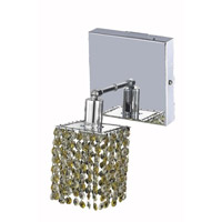 Elegant Lighting Mini 1 Light Wall Sconce in Chrome with Royal Cut Lt. Topaz (Yellow) Crystals 1381W-S-S-LT/RC