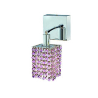 Elegant Lighting Mini 1 Light Wall Sconce in Chrome with Royal Cut Rosaline (Pink) Crystals 1381W-S-S-RO/RC