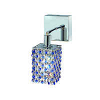 Elegant Lighting Mini 1 Light Wall Sconce in Chrome with Royal Cut Sapphire (Blue) Crystals 1381W-S-S-SA/RC