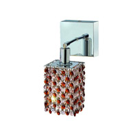 Elegant Lighting Mini 1 Light Wall Sconce in Chrome with Royal Cut Topaz (Brown) Crystals 1381W-S-S-TO/RC