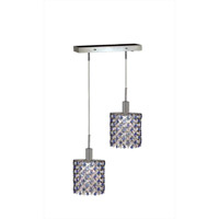 Mini 2 Light 5 inch Chrome Pendant Ceiling Light in Sapphire, Swarovski Strass, Rectangle, Ellipse