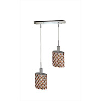 Mini 2 Light 5 inch Chrome Pendant Ceiling Light in Topaz, Swarovski Strass, Rectangle, Ellipse