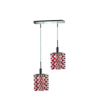 Elegant Lighting 1382D-O-P-BO/RC Mini 2 Light 5 inch Chrome Pendant Ceiling Light in Bordeaux, Royal Cut, Rectangle, Star photo thumbnail
