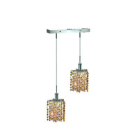 Mini 2 Light 5 inch Chrome Pendant Ceiling Light in Light Topaz, Swarovski Strass, Rectangle, Star
