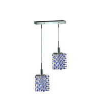 Mini 2 Light 5 inch Chrome Pendant Ceiling Light in Sapphire, Swarovski Strass, Rectangle, Star
