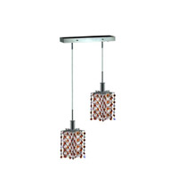 Mini 2 Light 5 inch Chrome Pendant Ceiling Light in Topaz, Swarovski Strass, Rectangle, Star