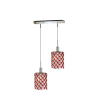 Mini 2 Light 5 inch Chrome Pendant Ceiling Light in Bordeaux, Swarovski Strass, Rectangle, Round
