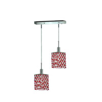 Mini 2 Light 5 inch Chrome Pendant Ceiling Light in Bordeaux, Swarovski Strass, Rectangle, Square