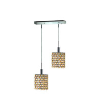 Mini 2 Light 5 inch Chrome Pendant Ceiling Light in Light Topaz, Swarovski Strass, Rectangle, Square