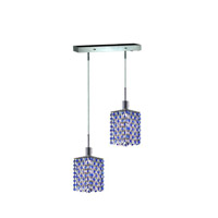 Mini 2 Light 5 inch Chrome Pendant Ceiling Light in Sapphire, Swarovski Strass, Rectangle, Square
