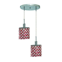 Mini 2 Light 9 inch Chrome Pendant Ceiling Light in Bordeaux, Swarovski Strass, Round, Ellipse