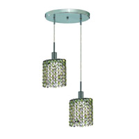 Elegant Lighting Mini 2 Light Pendant in Chrome with Royal Cut Lt. Peridot (Light Green) Crystals 1382D-R-E-LP/RC photo thumbnail