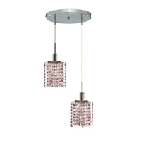 Elegant Lighting Mini 2 Light Pendant in Chrome with Royal Cut Rosaline (Pink) Crystals 1382D-R-P-RO/RC photo thumbnail