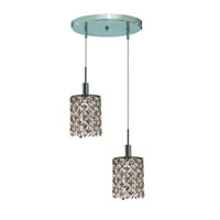 Elegant Lighting Mini 2 Light Pendant in Chrome with Royal Cut Golden Teak (Smoky) Crystals 1382D-R-R-GT/RC photo thumbnail