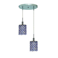 Elegant Lighting Mini 2 Light Pendant in Chrome with Royal Cut Sapphire (Blue) Crystals 1382D-R-R-SA/RC photo thumbnail