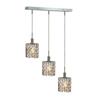 Mini 3 Light 15 inch Chrome Pendant Ceiling Light in Golden Teak, Swarovski Strass, Rectangle, Ellipse