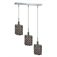 Mini 3 Light 15 inch Chrome Pendant Ceiling Light in Jet, Swarovski Strass, Rectangle, Ellipse