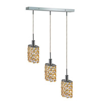 Mini 3 Light 15 inch Chrome Pendant Ceiling Light in Light Topaz, Swarovski Strass, Rectangle, Ellipse